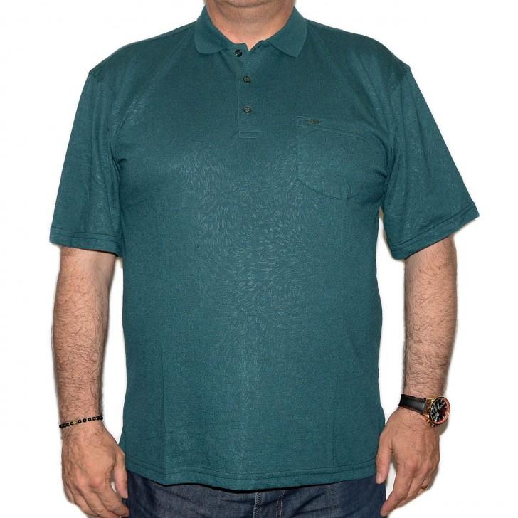 Tricou verde inchis cu imprimeu si cu guler - XXLBigSize