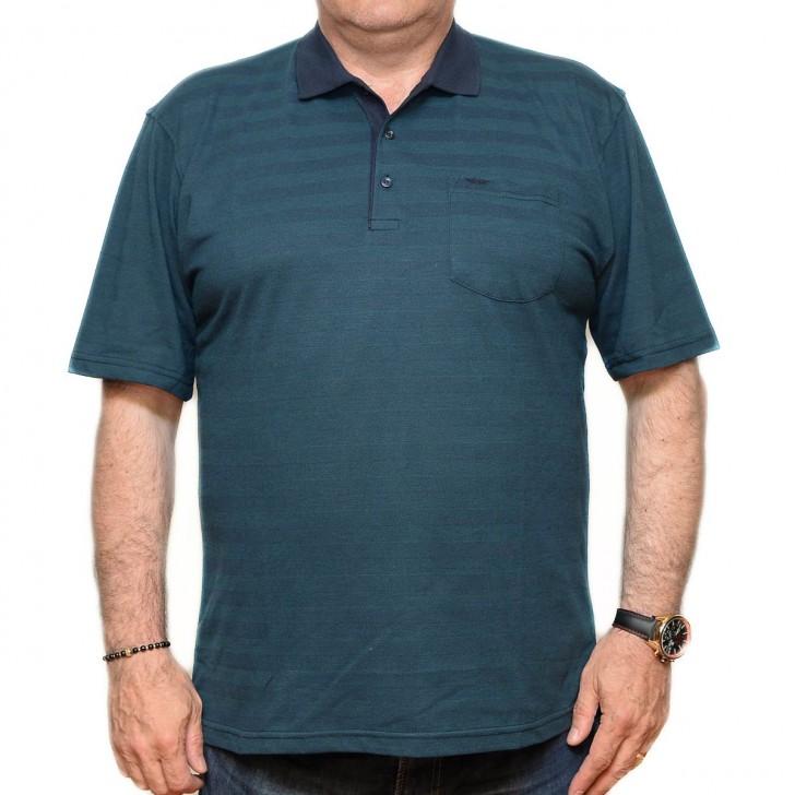 Tricou verde inchis in dungi cu guler - XXLBigSize