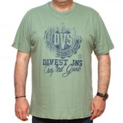 Tricou verde pastel cu imprimeu la baza gatului 70-118 xxlbigsize
