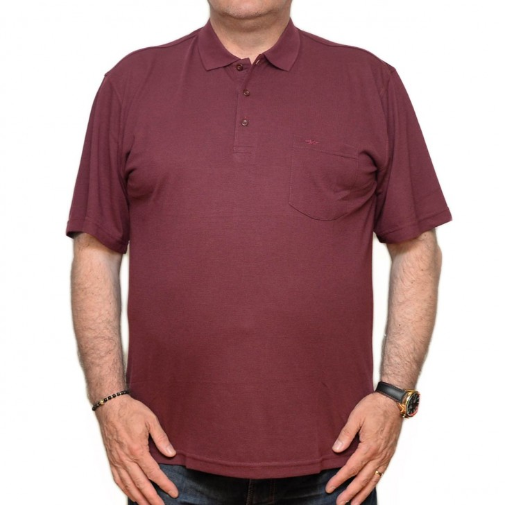 Tricou visiniu cu guler - XXLBigSize